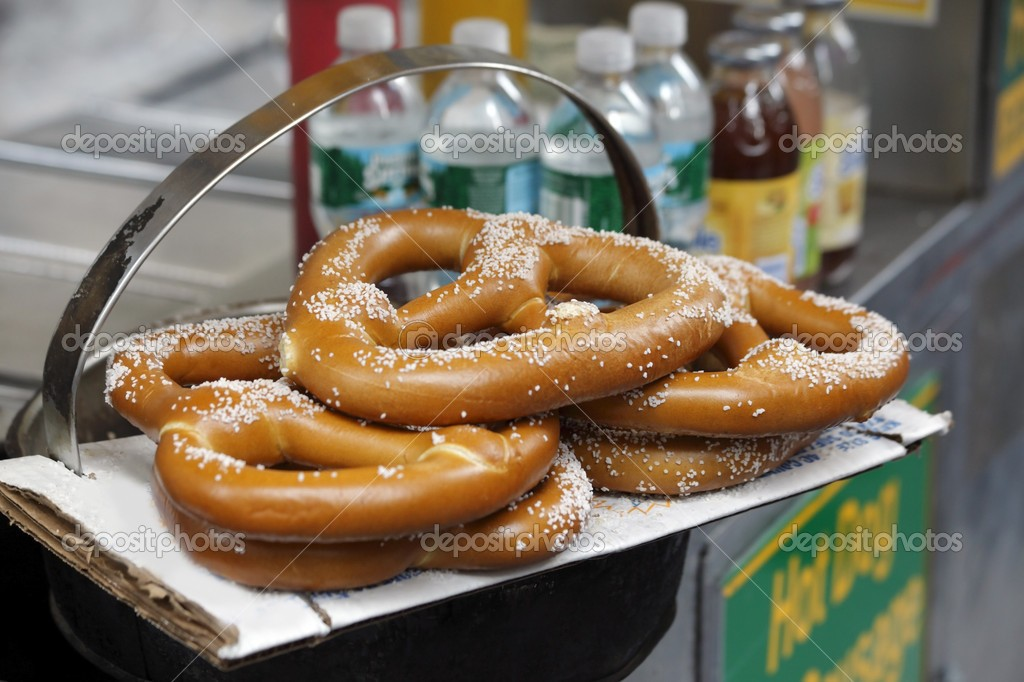 Pretzels on sale at a New York City vendor